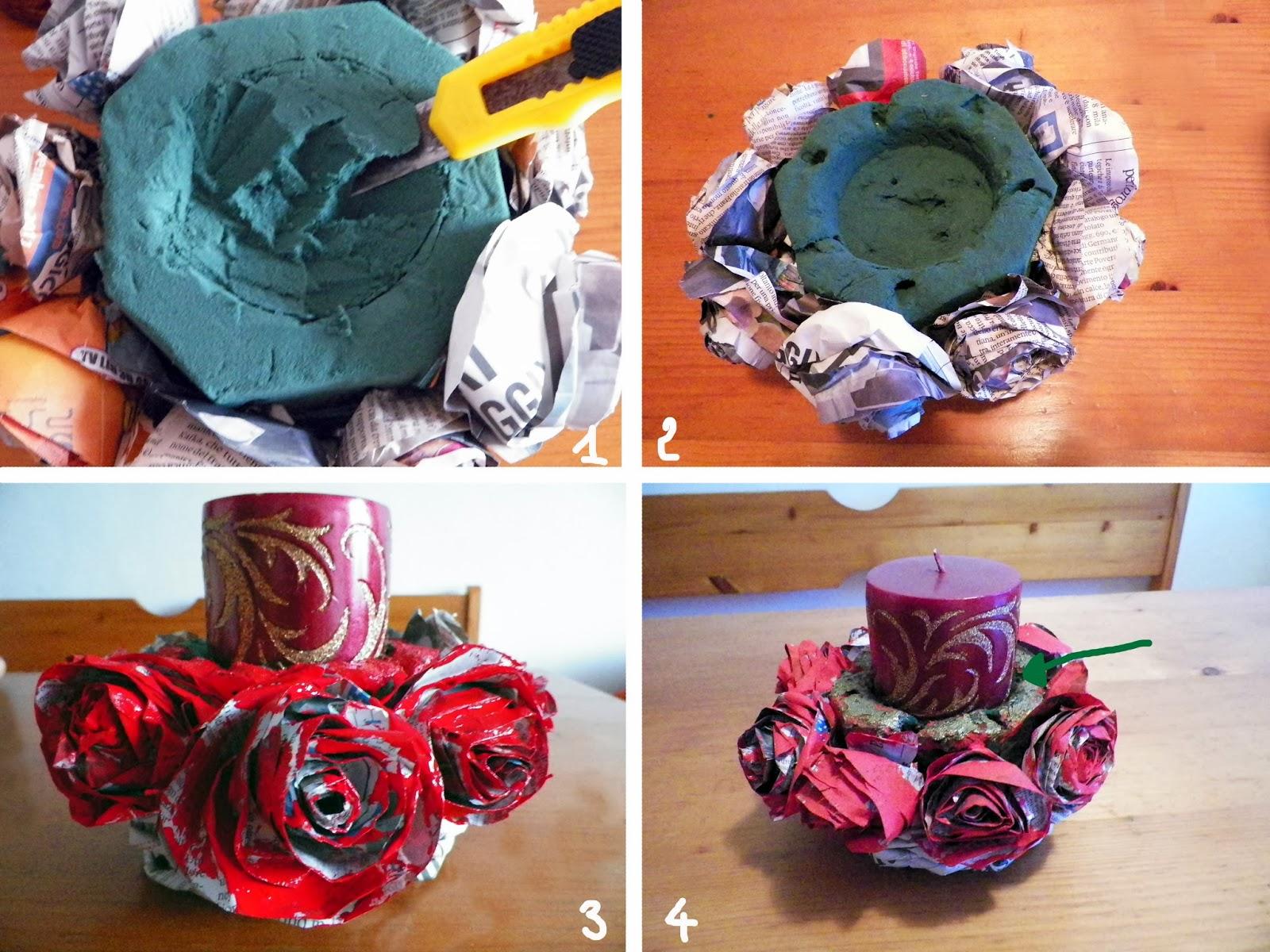 Centrotavola natalizio riciclato con le rose di carta di - Centrotavola natalizio idee ...