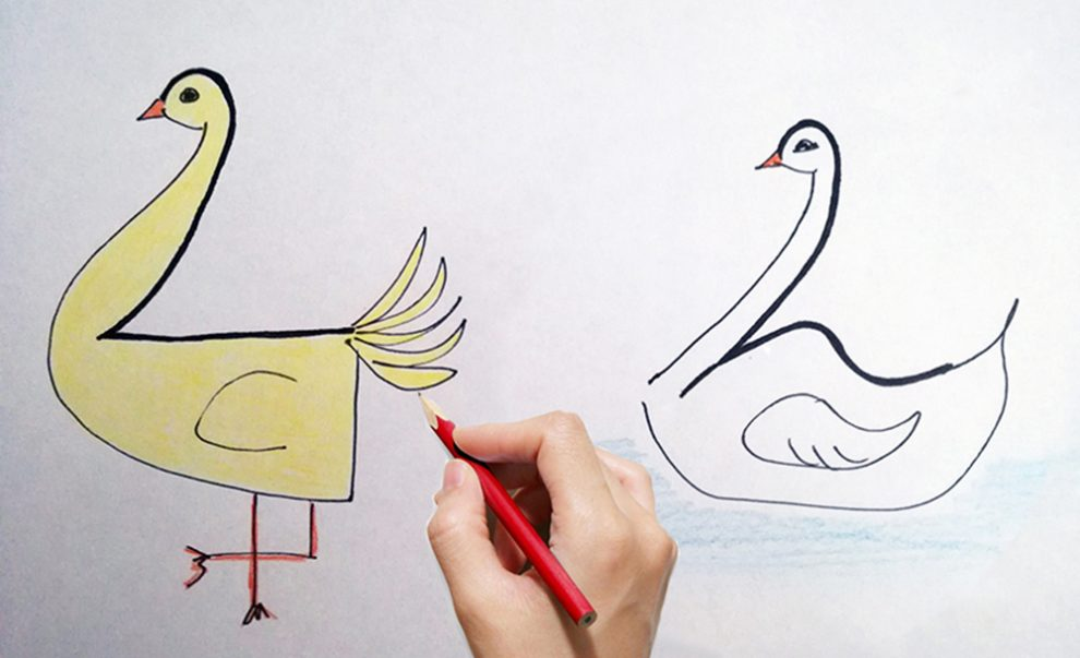 Bien-aimé Come disegnare una papera o un cigno per bambini partendo dal  CX72